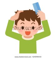 boy comb hair stock vector