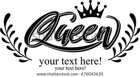 Hand Lettering Word Queen Crown Stock Vector 676043620