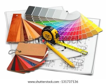 Interior Design Architectural Materials Measuring Tools Stock