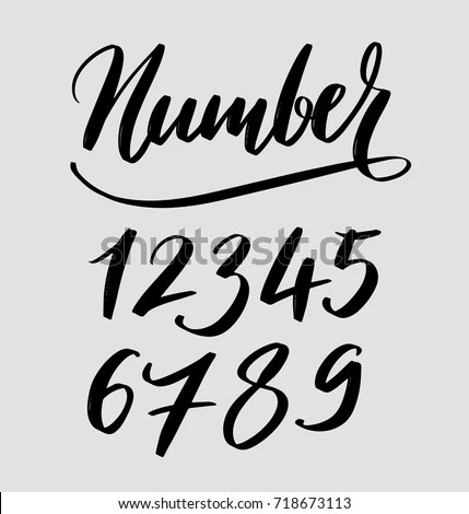 Numbers Hand Written Typography Ready Use Stock Vector