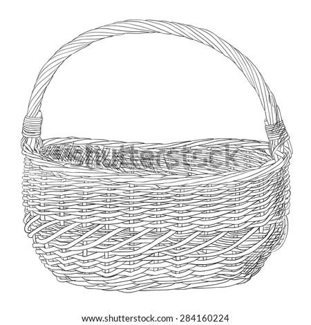 Empty Fruit Basket Sketch Templates