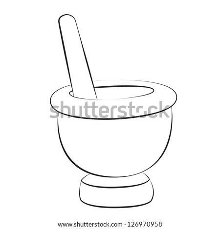 Black outline vector mortar and pestle on white background
