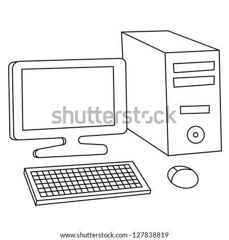 Black Outline Vector Computer On White Stock Vector