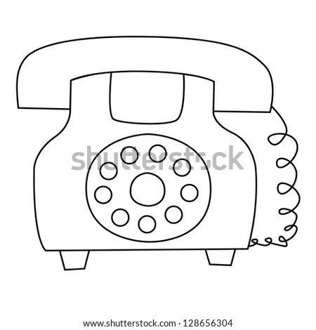 Cartoon Illustration Outline Telephone Vector Stock Images