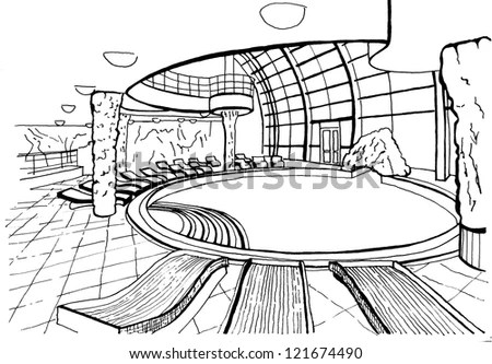Outdoor Swimming Pool Expensive Hotel Drawing Stock