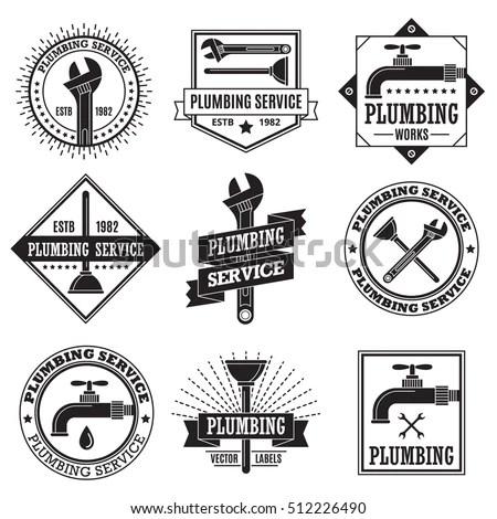 Retro Vintage Logo Labels Plumbing Service Stock Vector