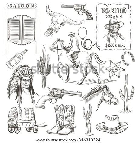 Wild West Monochrome Icon Set Description Stock Vector