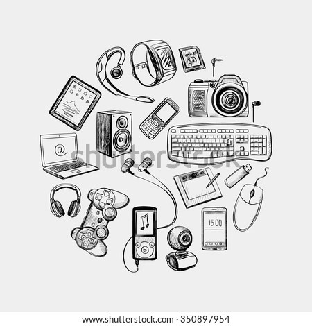 Gadgets Drawing Stock Images, Royalty-Free Images