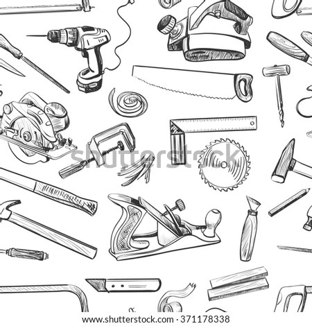 Joinery Icons Set Carpenter Character Work Stock Vector