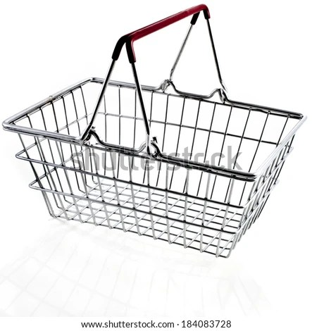 Empty Metal Basket Keeping Kitchen Ware Stock Photo