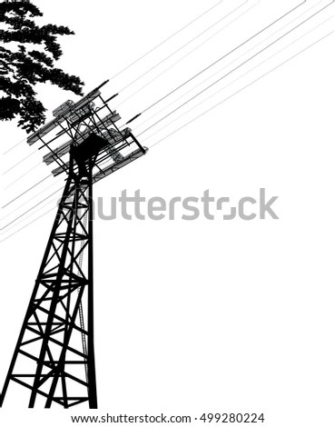 High Voltage Power Pylon Transmission Tower Stock Vector