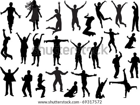 illustration with happy people silhouettes isolated on