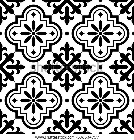 Spanish Tile Pattern Moroccan Tiles Design Stock Vector