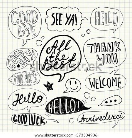 Hand Drawn Set Speech Bubbles Handwritten Stock Vector