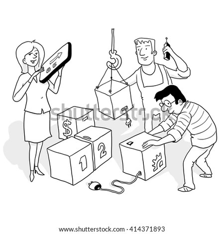 Black White Funny Sketch Doodle Style Stock Vector