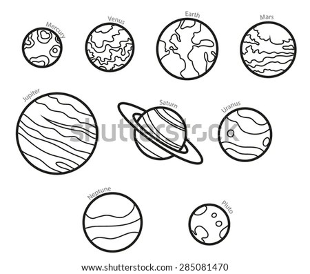 Vector Cartoon Planets Education Space Illustration Stock
