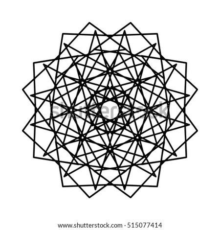Vector Antistress Coloring Book Geometric Mandala Stock