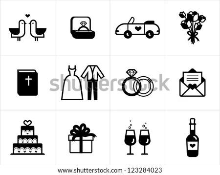 Wedding Icons Black White Stock Vector 123284023
