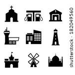 Architecture and buildings icons including a church