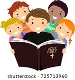 hight resolution of vector biblical calligraphy quotes illustration of stickman kids with a priest reading the holy bible