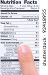 stock photo : Closeup of a woman's finger pointing at a food product nutrition label.