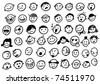 Doodled Funny Stick Figure Faces (Jpg Version) Stock Photo