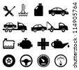 Driving, Road And Traffic Icon Set Stock Vector