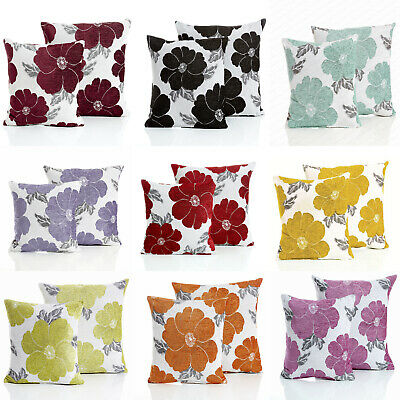 set of 4 insignia chenille jacquard cushion covers 2 colours 18 22 or filled home decor indian south asian home decor pillows