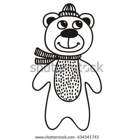 Antistress Doodle Coloring Page Adorable Panda Stock