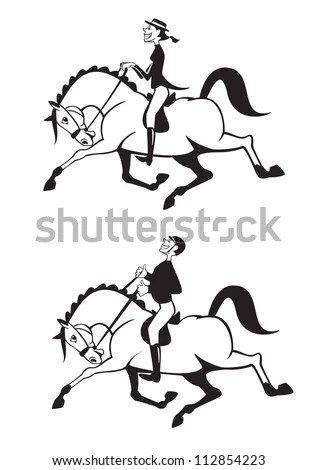 horse riders,cartoon man and woman,dressage competition