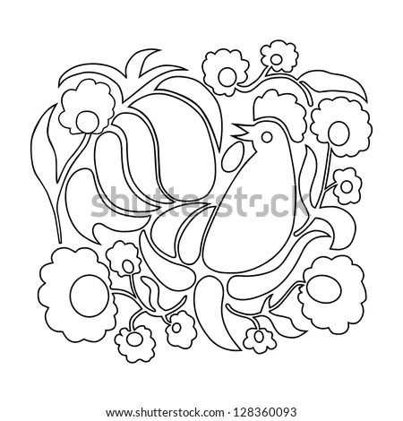 Rooster Flowers On White Background Coloring Stock