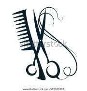 scissors hair sign beauty vector