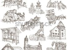 Famous Places Architecture Around World Collection Stock ...