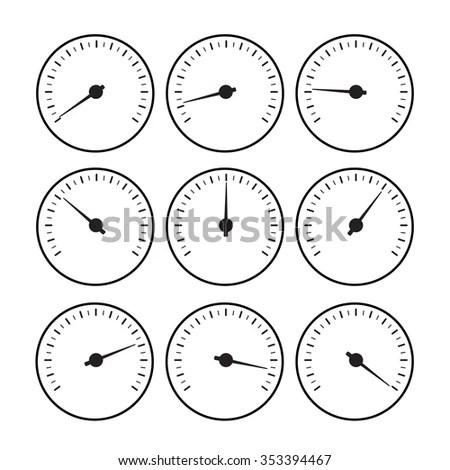 Manometer Temperature Gauge Devices Set Vector Stock