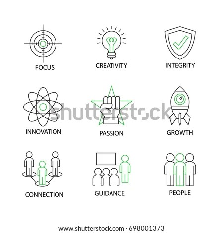 Modern Flat Thin Line Icon Set Stock Vector 701841079