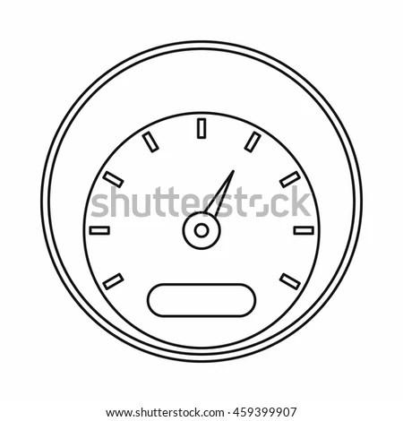Speedometer Meter Icon Set Line Style Stock Vector