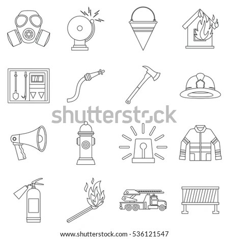 Firefighter Icons Thin Outlines Stock Vector 369107705