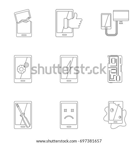Repair Service Maintenance Icons Mobile Smart Stock Vector