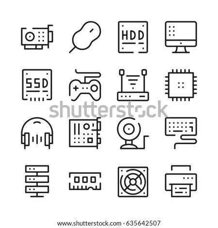 Operating System Vector Icon Set Thin 스톡 벡터 574675834