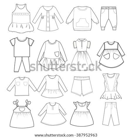Set Womens Pajamas Nighties Stock Vector 147750365