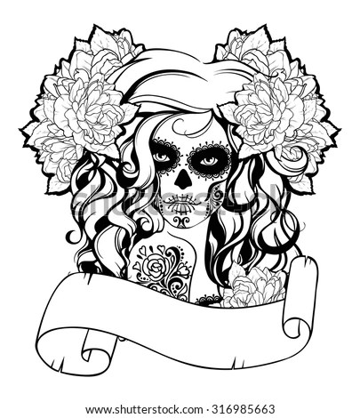 Skull Snake Adult Coloring Page Vector Stock Vector
