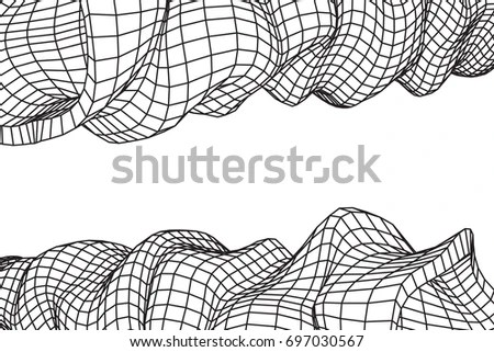 Vector Hand Drawn Stripe Background Outline Stock Vector