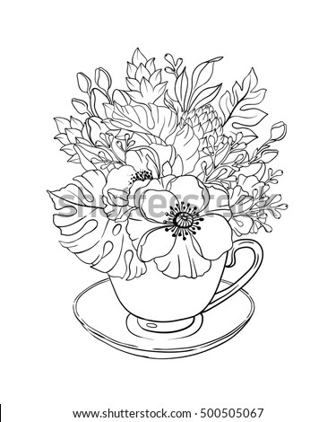 Vector Illustration Adult Coloring Page Flowers Stock