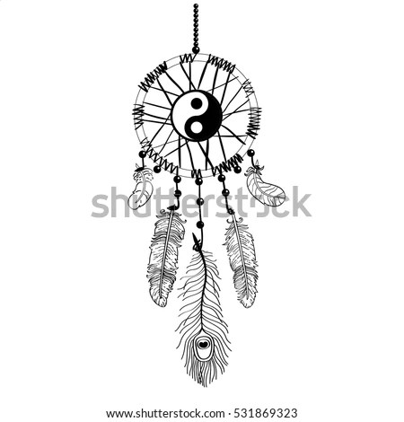 Dream Catcher Feathers Beads On Black Stock Vector