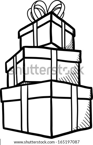 Pile Gifts Outline Sketch Stock Vector 165197087
