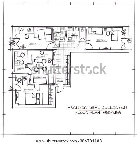 Black White Floor Plan House Stock Vector 245633587