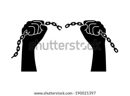 Chains Broken Off By Hands Stock Vector 186584396