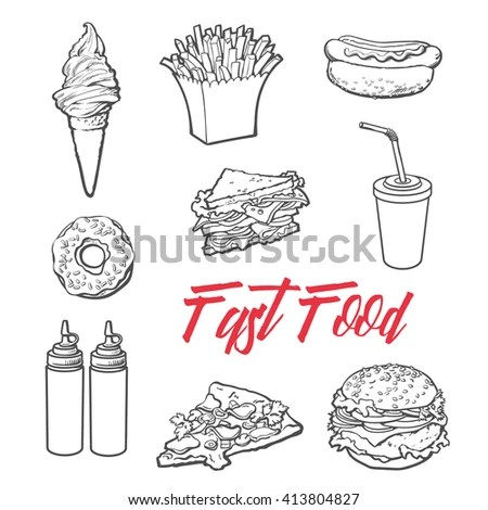Eat Food Drink Hand Draw Outline Stock Vector 135609056
