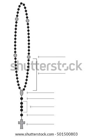 Holy Rosary Beads Chaplet Catholic Devotional Stock Vector
