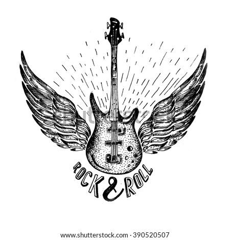 Grunge Print Tshirt Guitar Wings Slogan Stock Vector
